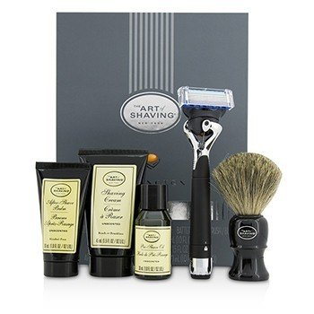 刮胡学问  Lexington Collection Power Shave Set: Razor + Brush + Pre Shave Oil + Shaving Cream + After Shave Balm - Without Battery  5pcs