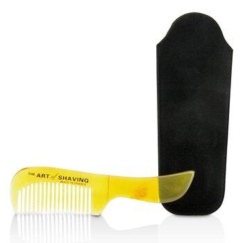 Horn Mustache Comb - Black Suedine  1pc