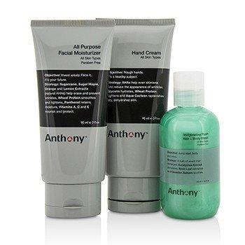 Moisture On The Go Kit: All Purpose Facial Moisturizer 90ml + Invigorating Rush Hair & Body Wash 100ml + Hand Cream 90ml  3pcs