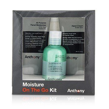 安东尼  Moisture On The Go Kit: All Purpose Facial Moisturizer 90ml + Invigorating Rush Hair & Body Wash 100ml + Hand Cream 90ml  3pcs