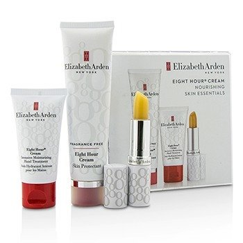 Elizabeth Arden Set Eight Hour Cream Nourishing Skin Essentials: Protector de Piel Libre de Fragancia + Tratamiento de Manos + Barra Protectora de Labios SPF 15  3pcs