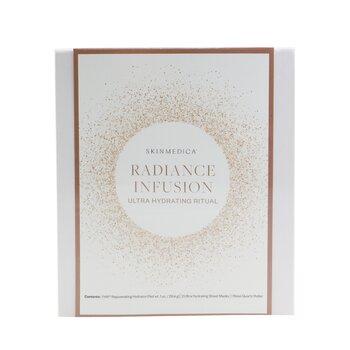 Radiance Infusion Ultra Hydrating Ritual Set: HA Rejuvenating Hydrator 28.4g + Ultra Hydrating Sheet Mask 2pcs + Rose Quartz Roller  4pcs
