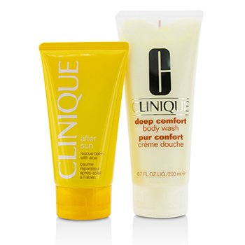 Clinique Set Summer in Clinique: Deep Comfort Body Wash 200ml/6.7oz + After Sun Rescue Balm 150ml/5oz  2pcs