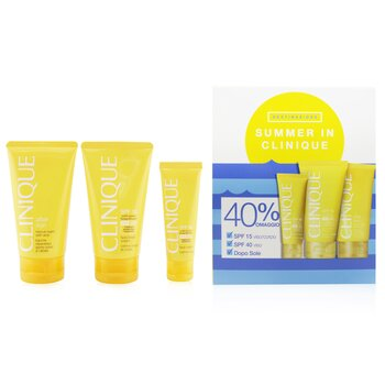 Summer In Clinique Coffret: Face Cream SPF 40 50ml+ Face/Body Cream SPF 15 150ml + After Sun Rescue Balm With Aloe 150ml  4pcs