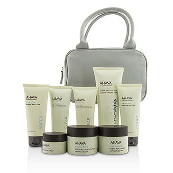 Essential Beauty Case: Body Exfoliator+Body Lotion+Cleanser+Facial Exfoliator+Mask+Day Cream+Night Cream+Eye Cream+Gray Bag  8pcs+1bag