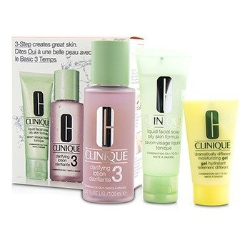 Clinique 3-Step Skin Care System (Skin Type 3): Jabón Facial Líquido Fórmula Piel Grasa 50ml + Loción Aclarante 3 100ml + DDMG 30ml  3pcs