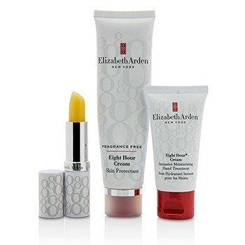 Elizabeth Arden Set Eight Hour Cream Nourishing Skin Essentials: Protector de Piel Libre de Fragancia + Tratamiento de Manos + Barra Protectora de Labios (Caja Ligeramente Dañada)  3pcs