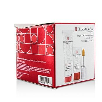 Elizabeth Arden Eight Hour Cream Nourishing Skin Essentials Set: Skin Protectant The Original+Hand Treatment+Lip (Box Slightly Damaged)  3pcs