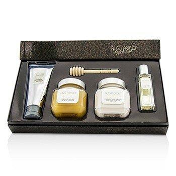 Sweet Temptations Ambre Vanille Luxe Body Collection: EDT Spray 15ml/0.5oz + Body Wash 100ml/3.4oz + Honey Bath 200ml/6.7oz + Body Creme 200ml/6.7oz 4pcs