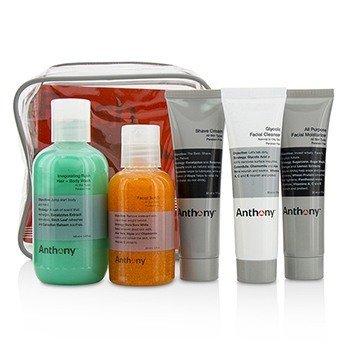 安东尼  Fresh 5 Kit: Facial Scrub 60ml + Shave Cream 30ml + Invigorating Rush Hair & Body Wash 100ml + Glycolic Facial Cleanser 30ml + All Purpose Facial Moisturizer 30ml  5pcs