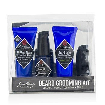 ג'ק בלק Beard Grooming Kit: All-Over Wash 44ml, Beard Oil 30ml, Beard Lube Conditioning Shave 44ml, Beard Comb  4pcs