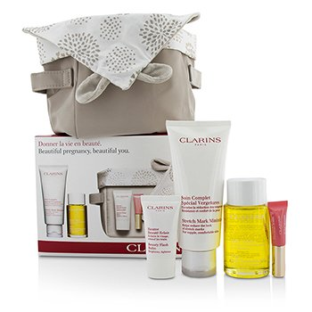 קלרינס Beautiful Pregnant Set: Stretch Mark Minimizer 200ml+ Body Oil 100ml+ Flash Balm 15ml + Lip Perfector 5ml + Bag  4pcs+1bag