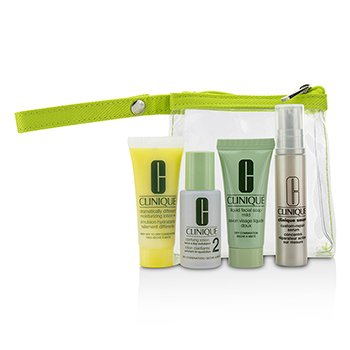 Clinique Travel Set: Liquid Facial Soap Mild + Clarifying Lotion 2 + DDML+ + Smart Custom-Repair Serum + Bag  4pcs+1bag
