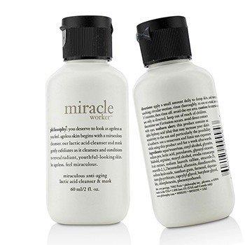 פילוסופי Miracle Worker Miraculous Anti-Aging Lactic Acid Cleanser & Mask קלינסר ומסכה אנטי אייג'ינג עם חומצה לקטית- מארז זוגי (גודל נסיעות)  2x60ml/2oz