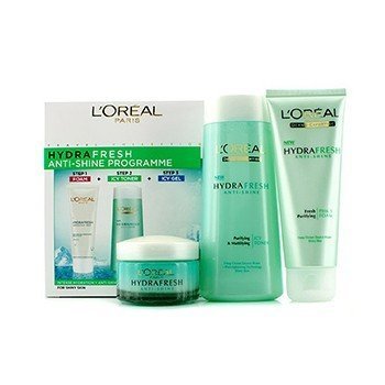 L'Oreal  Hydrafresh Anti-Shine Programme: Icy Toner 200ml + Foam 100ml + Icy Gel 50ml (Exp. Date: 11/2017)  3pcs