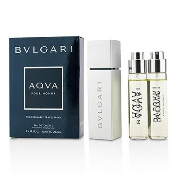 Bvlgari Aqva Pour Homme The Refillable Eau De Toilette Spray de Viaje Recargable  3x15ml/0.5oz