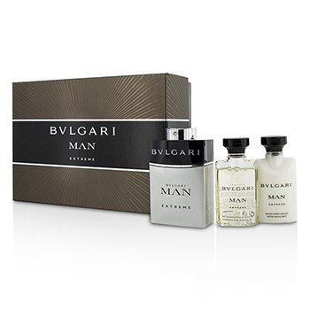 Bvlgari Man Extreme Coffret: Eau De Toilette Spray 60ml/2oz + Bálsamo Para Después de Afeitar 40ml/1.35oz + Gel de Ducha 40ml/1.35oz  3pcs