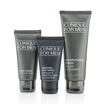 Custom-Fit Daily Hydration Set: Charcoal Face Wash 50ml/1.7oz + Cream Shave 60ml/2oz + Moisturizing Lotion 100ml/3.4oz  3pcs
