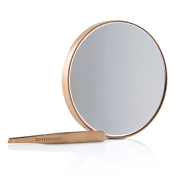 Rose Gold Mini Slant Tweezer And 10X Mirror  -