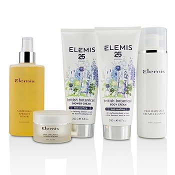 British Botanical Face & Body Experience Set: Cleanser + Apricot Toner + Collagen Marine Cream + Shower Cream + Body Cream + Bag  5pcs + 1 Bag