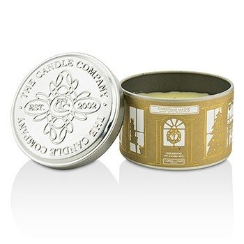 Tin Can 100% Beeswax Candle with Wooden Wick - Christmas Magic (Amber, Saffron & Patchouli)  (8x5) cm