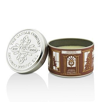 Tin Can 100% Beeswax Candle with Wooden Wick - Festive Spices (Cinnamon, Orange & Clove) (8x5) cm