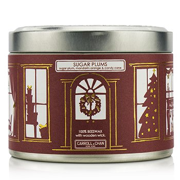 Tin Can 100% Beeswax Candle with Wooden Wick - Sugar Plums (Sugar Plum, Mandarin Orange & Candy Cane)  (8x5) cm