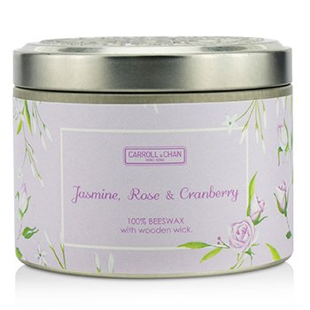 The Candle Company Tin Can 100% Beeswax Candle with Wooden Wick - Jasmine, Rose & Cranberry  (8x5) cm