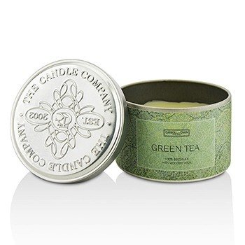 Tin Can 100% Beeswax Candle with wooden Wick – Mehiläisvahakynttilä puisella sydämellä - Green Tea  (8x5) cm