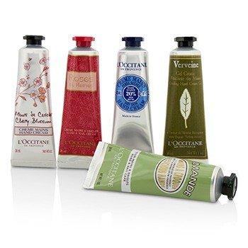 Hand Cream Collection Set: Cherry Blossom + Almond + Shea Butter + Rose + Verveine (Verbena)  5x30ml/1oz