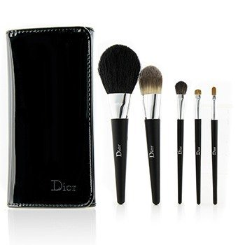 Backstage Brushes Professional Finish Travel Brush Set Edition Voyage (Powder, Fluid Foundation, Eyeshadow, Eyeliner, Lip)  5pcs+1bag