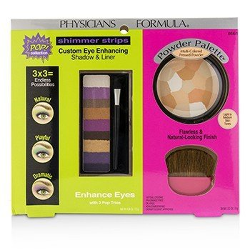 Makeup Set 8661: 1x Shimmer Strips Eye Enhancing Shadow, 1x Powder Palette, 1x Applicator (Box Slightly Damaged)  3pcs