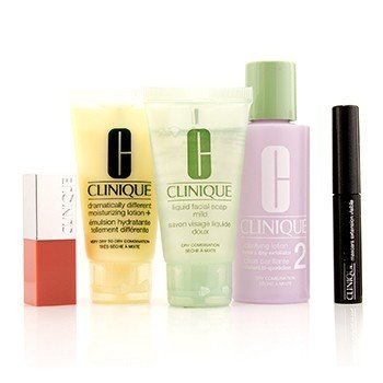 3-Step Skin Care System (Skin Type 2): Liquid Facial Soap Mild+Clarifying Lotion 2+DDML+Lash Power Mascara+Clinique Pop Lip  5pcs