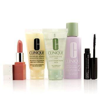 Clinique 3-Step Skin Care System (Skin Type 2): Jabón Facial Suave + Loción Aclarante 2 + DDML + Lash Power Máscara + Clinique Pop Lip  5pcs