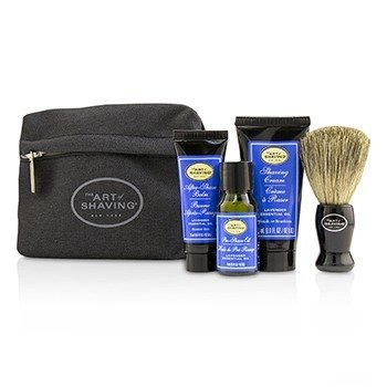 刮胡学问  Starter Kit - Lavender: Pre Shave Oil + Shaving Cream + After Shave Balm + Brush + Bag  4pcs + 1 Bag