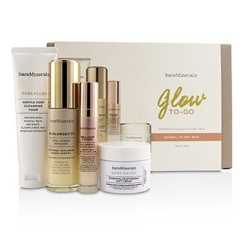 Glow To-Go Started Kit (Normal to Dry Skin): Pure Plush 50g+Skinlongevity 30ml+Brilliant Future 9.5m  4pcs
