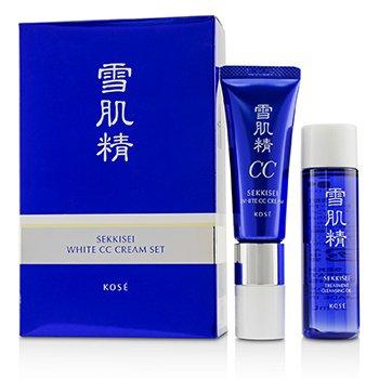 Sekkisei White CC Cream Set: Sekkisei White CC Cream SPF50+ PA++++ -  # 02 Ochre 26ml/1oz + Sekkisei Treatment Cleansing Oil 35ml/1.1oz  2pcs