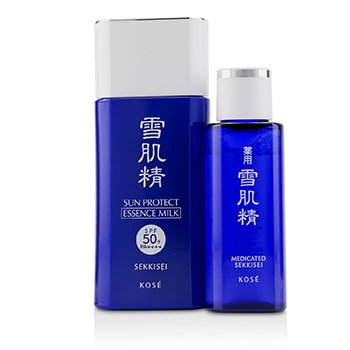 Sekkisei Sun Protect Essence Milk Kit: Sekkisei Sun Protect Essence Milk SPF50+ PA++++ 55ml/1.8oz + Medicated Sekkisei 24ml/0.81oz  2pcs