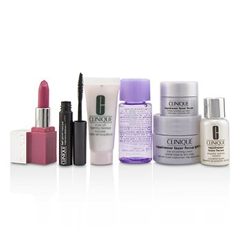 Travel Set:M/U Remover+Foaming Cleanser+Repairwear Laser Focus +Repairwear Cream SPF15+Repairwear Eye Cream+Mascara+Lip Color  7pcs