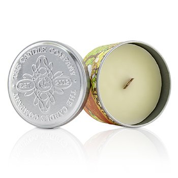 Tin Can 100% Beeswax Candle with Wooden Wick - Fruity Mint  (8x5) cm