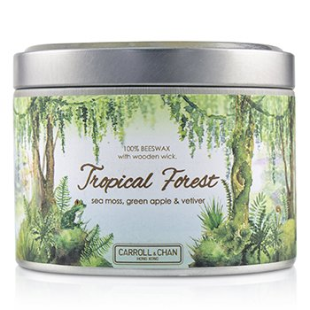 Tin Can 100% Beeswax Candle with Wooden Wick - Tropical Forest  (8x5) cm