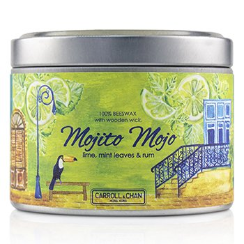 Tin Can 100% Beeswax Candle with Wooden Wick - Mojito Mojo (8x5) cm