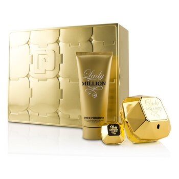 Lady Million Coffret: Eau De Parfum Spray 80ml/2.7oz + Eau De Parfum Splash 5ml/0.17oz + Sensual Body Lotion 100ml/3.4oz  3pcs