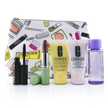 Bonus Travel Set: M/U Remover 50ml+ Foaming Cleanser 30ml+ DDML+ 30ml+ High Impact Mascara 3.5ml+ Long Last Lipstick 3.8g+ Bag  5pcs+1bag