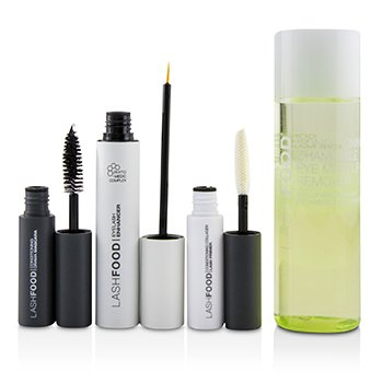 LashFood Lash Transformation System: (1x Eyelash Enhancer, 1x Lash Primer, 1x Mascara, 1x Eye Makeup Remover)  4pcs