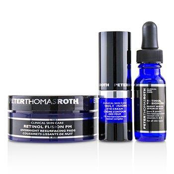 Retinol Fusion PM Power Trio Kit: Overnight Resurfacing Pads 20 pads + Night Serum 12ml/0.4oz + Eye Cream 7ml/0.24oz 3pcs