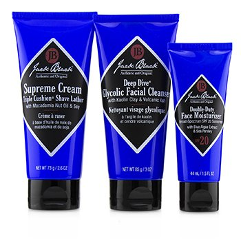 Shave Essentials Kit: Deep Dive Glycolic Facial Cleanser + Supreme Cream Triple Cushion Shave Lather + Double Duty Face Moisturizer SPF20  3pcs+1Bag