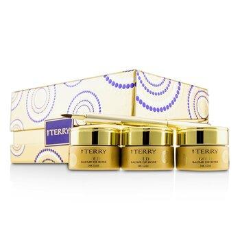24K Gold Baume De Rose Trio Deluxe Lip Balm Jewels (1x White Gold 10g, 1x Gold 10g, 1x Rose Gold 10g)  3x10g/0.35oz
