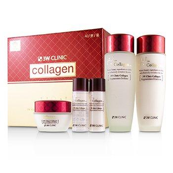 3W Clinic Collagen Skin Care Set: Softener 150ml + Emulsion 150ml + Cream 60ml + Softener 30ml + Emulsion 30ml  5pcs