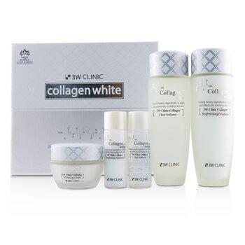 3W Clinic Collagen White Skin Care Set: Softener 150ml + Emulsion 150ml + Cream 60ml + Softener 30ml + Emulsion 30ml  5pcs